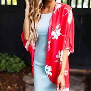 Tops - Red/Cream Floral Kimono